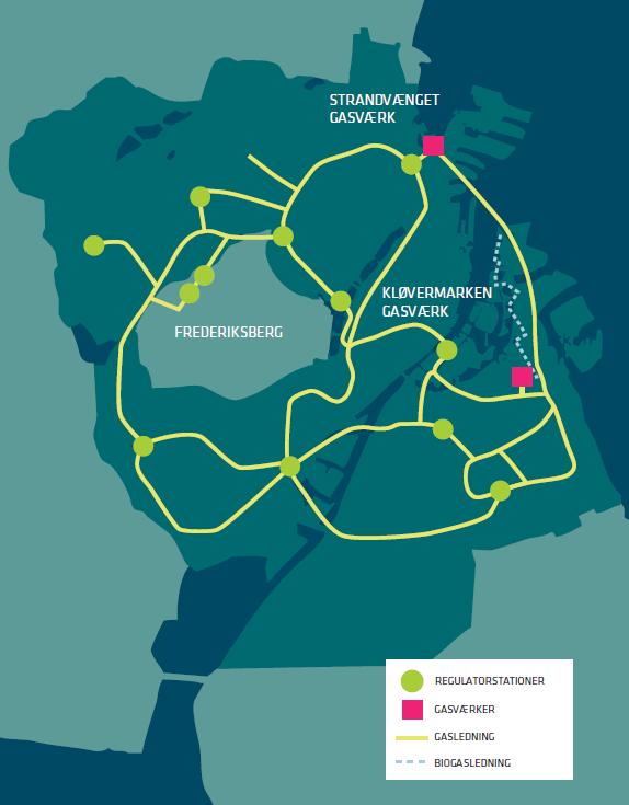 Illustration af, hvor HOFOR leverer gas i hovedstaden