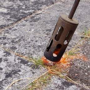 Nærbillede af ukrudtsbrænder, der brænder ukrudt af mellem fliser.
