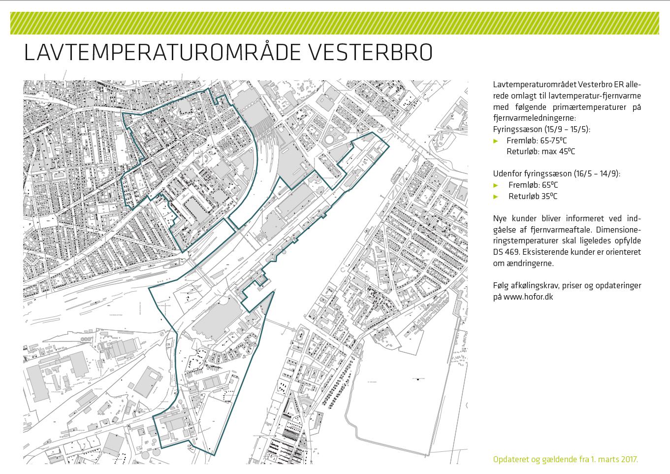 Illustration over lavtemperaturområde med sænket fremløbstemperatur på Vesterbro