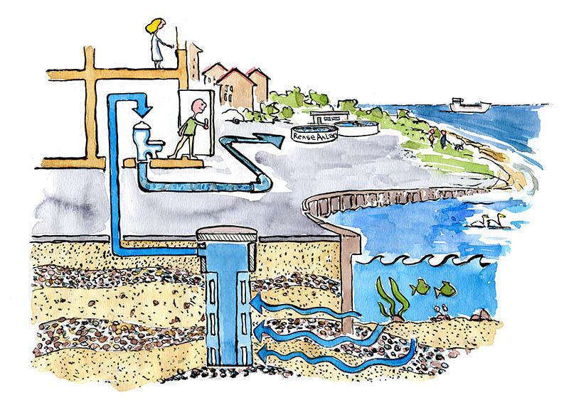 Illustration af saltskyl i toilettet