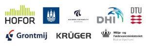 Logo fra samarbejdspartnere, HOFOR, Københavns Kommune, Aalbrog Universitet, DHI, DTU, Grontmij, Krüger, Miljø- og Fødevareministeriet