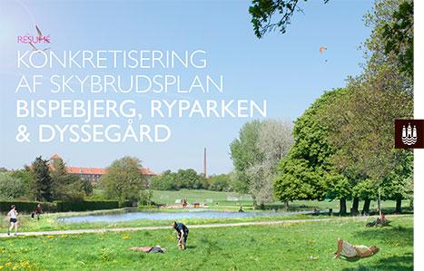 """Forside til publikation med resumé af """"Konkretisering af skybrudsplan - Bispebjerg, Ryparken og Dyssegård"""""""