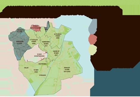 Kort over maksimale fjernvarme driftstryk i HOFORs forsyningsområde