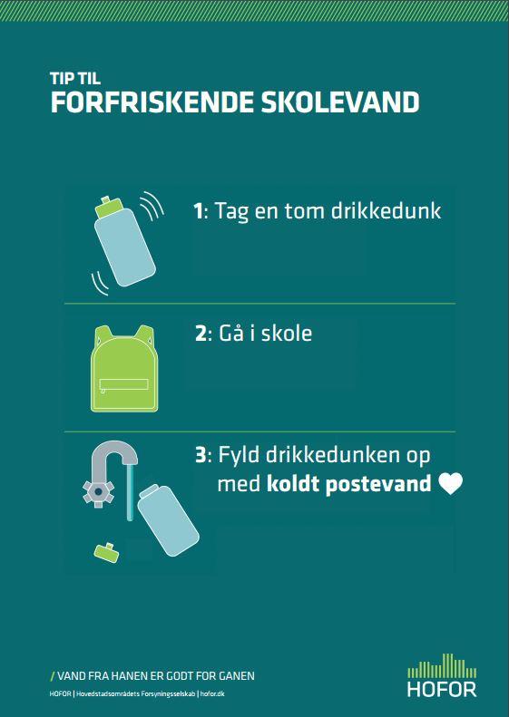 plakat med tips til forfriskende skolevand