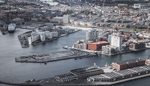 Billede fra luften af Nordhavn i København