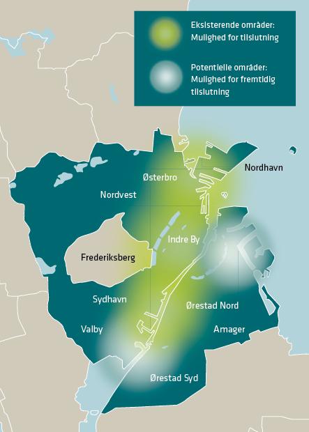 Vejledende kort, der viser, hvor HOFOR kan levere fjernkøling