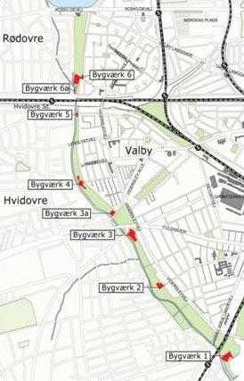Kort der viser de fem byggepladser