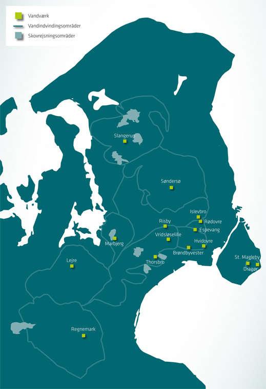 Kort der viser skovrejsningsområder på Sjælland