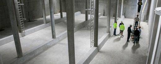 Billede af regnvandsbassin under jorden