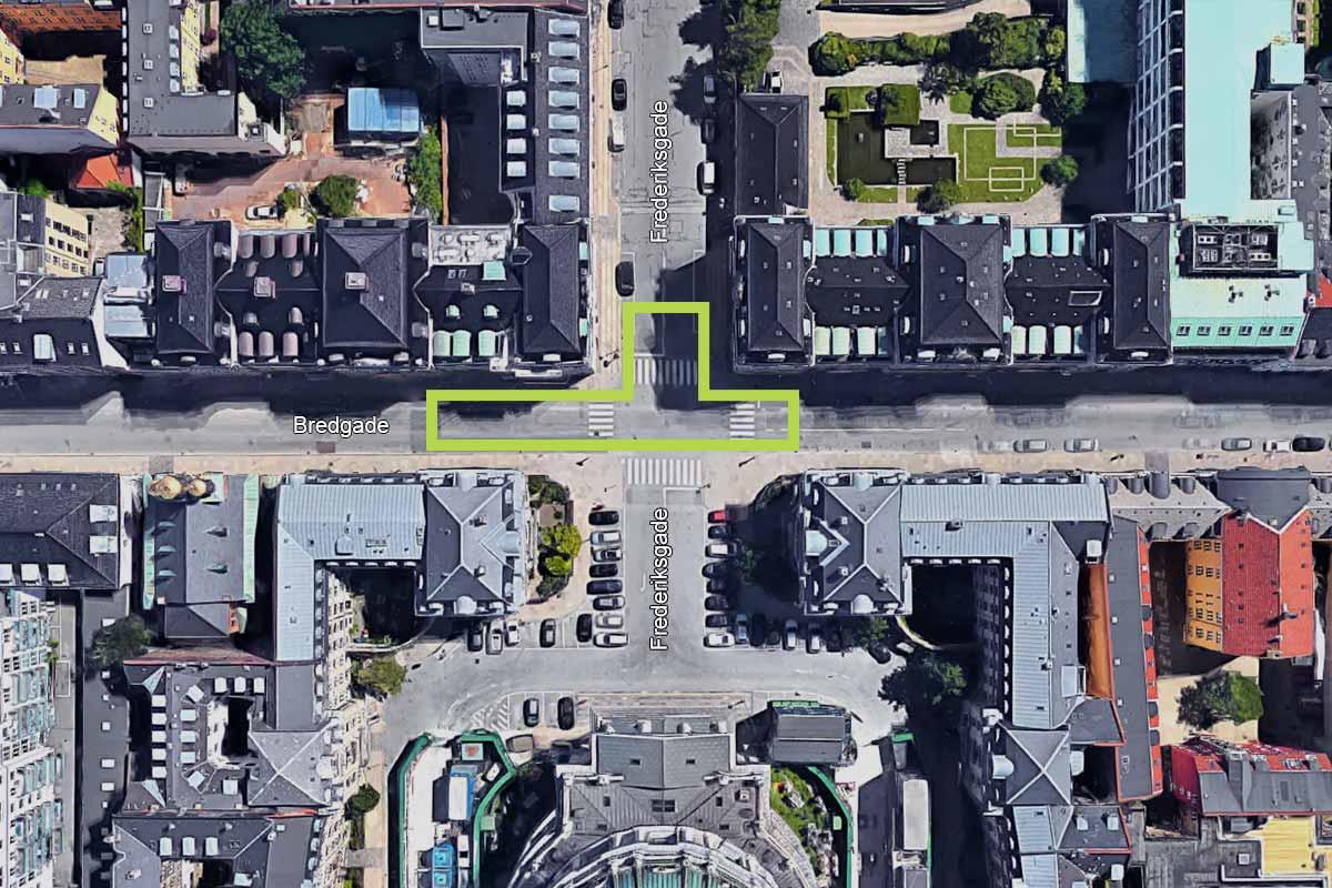 Kort der viser tilslutning af den nye skybrudsledning i Bredgade