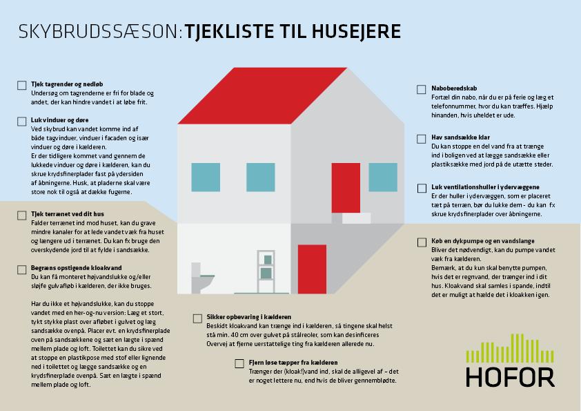 Grafik der viser gode tips til husejere i tilfælde af skybrud. Sommeren er nemlig sæson for skybrud.
