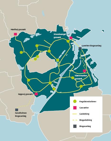 Kort af, hvor HOFOR leverer gas i hovedstaden