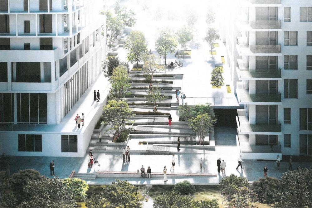 Vejvandsrenseanlæg Ørestad Syd: Arkitekttegning