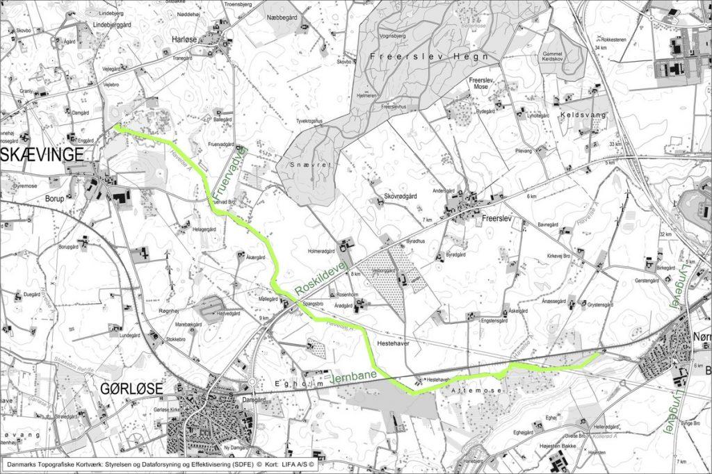 Kort over område for renovering ved Attemose kildeplads