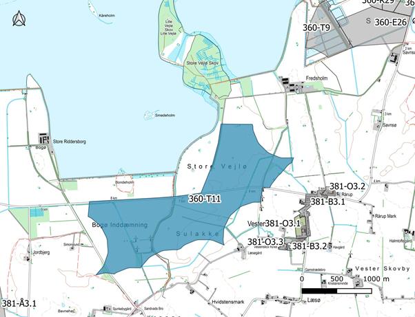 Kort over område på Lolland, der er udlagt til vindmøller.