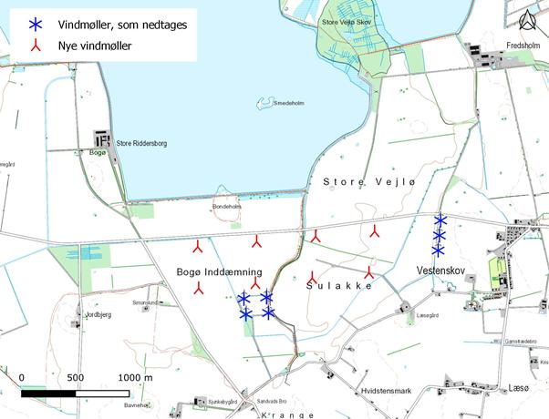 Kort over den foreslåede mølleopstilling ved Bogø inddæmning.